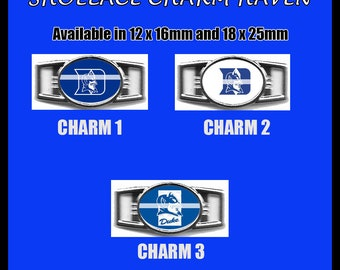 DUKE BLUE DEVILS Shoelace Charm  Paracord Bracelet Charm Oval Charm 12 x 16mm or 18 x 25mm Charms