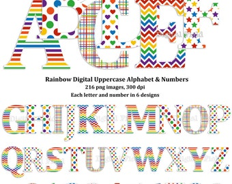 Rainbow uppercase alphabet and number clip art set - printable digital letters - instant download