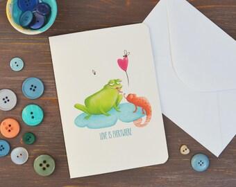 Greeting Card with original romantic illustration