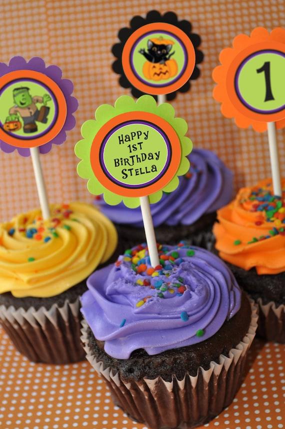 Halloween Cupcake Toppers 1st Birthday Halloween Birthday