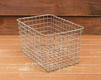 Locker Basket, Wire Basket, Vintage School Locker Basket, Storage Bin