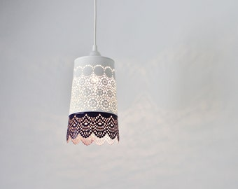 Plum Purple & White Lace Pendant Lamp, Colorful Hanging Pendant Light With A Metal Mesh Lace Shade, Modern BootsNGus Lights And Home Decor