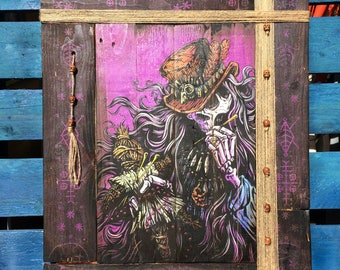 Official David Lozeau Day of the Dead Wood Art Voodoo Priest