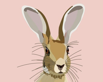 Nursery Decor, Hare Print, Printable Forest Animal Poster, Peekaboo Rabbit, Digital Download, Woodland Creatures Bunny Illustration, Pastel