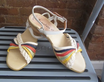 1970s Famolare rainbow sandals (deadstock) | 70's Disco Retro Groovy | Size 6 | Summer of '76