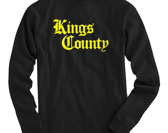 LS Kings County Tee - Gothic Brooklyn Long Sleeve T-shirt - Men and Kids - S M L XL 2x 3x 4x - Brooklyn Shirt, NYC, New York City - 4 Colors