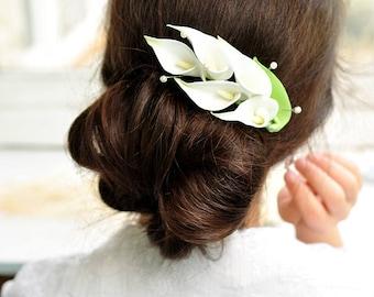 calla lily hair comb wedding sets calla boutonniere calla lily bridal hair piece wedding calla lily accessory calla lily wedding hair flower