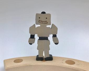 Robot Birthday Ring Ornament, Wood Robot, Waldorf Birthday Ring Ornament
