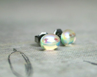 Magic Kingdom - Vintage 8x6mm Czech Precoisa Clear AB Fire Polished Cabochons - Stainless Steel Stud Earrings