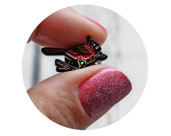 Cardinal Enamel Pin, Red Bird, Soft Enamel Lapel Pin, Cardinal Brooch, Trading Pin, Ohio State Bird, North Carolina Bird, Gift for Birder