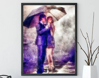 Couple In The Rain - Lovers In The Rain -  Walking In Rain - Wall Decor