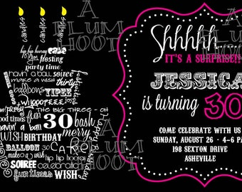 30th Birthday Invitation (Surprise Party)  Can be customized for any age.