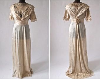Edwardian 1910's Wedding Gown Dress Ecru Silk, Lace, Soutache Size S/XS AS IS