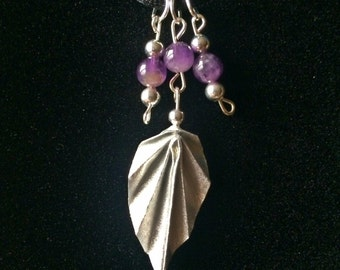Silver Origami Leaf And Amethyst Bead Necklace