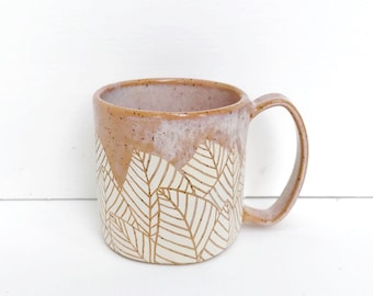 Blush Botanical Leaf Coffee Mug / Modern Nature Ceramic Mug / Nature Inspired Coffee Cup / READY TO SHIP