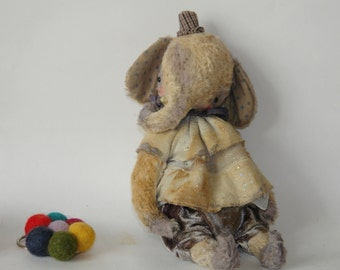 PDF Epattern for 9 inch Vintage Looking Handmade Artist Clown Teddy Elephant plus the pattern for the outfit by Sasha Pokrass