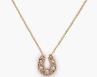 Pearl and Diamond Horseshoe Necklace