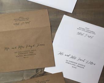 Envelope Addressing, Digital Calligraphy Guest Addressing, Custom Digital Calligraphy on Envelopes