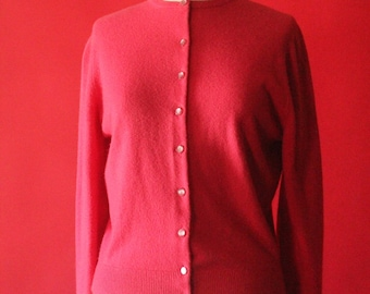 Vintage 50's Pink Knit Button Up Cardigan Sweater by Talbot Taralan, size S