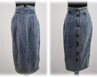 1980s Zena Acid Washed Denim High Waisted Pencil Skirt Buttons Up the Back