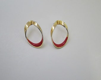 Vintage Gold Tone with Red Enamel Earrings