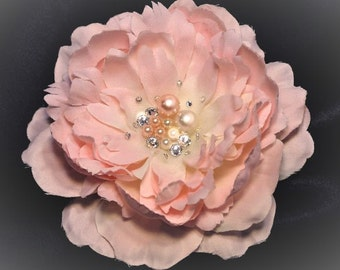 Light Pink  Bride Hair Flower Bride Bridesmaid  flower Swarovski Crystals and Pearls Wedding Hair Accessory