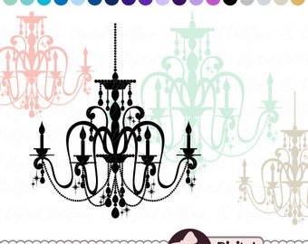 Wedding Invitation Clip Art, Elegant Chandelier Clipart, Digital Silhouette Images