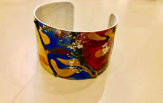 SJC10055 - Enamel painted aluminum cuff open bracelet with abstract design (orange, blue, green, yellow, red, gold)