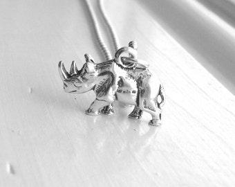 Rhino Necklace, Rhinoceros Necklace, Rhino Jewelry, Rhinoceros Jewelry, Rhino Pendant, Sterling Silver Jewelry, Charm Necklace
