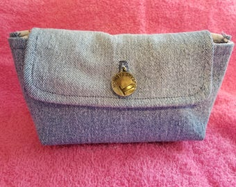 Recycled Blue Jean Cosmetic Bag