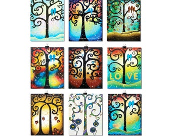 Coworker Gift, Tree of Life ACEO Prints, Set of 9 ACEO Art Prints, Whimsical Art, ATC Artist Trading Cards
