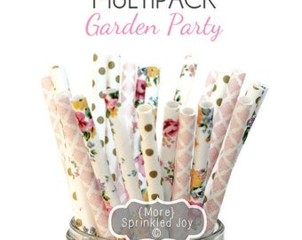 25 Paper Straws Flower, GARDEN PARTY, Party Decor, Cake Pops, Garden Party, Tea Party, Shower, Birthday Baby Shower, Bridal, Wedding, Baby