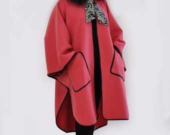 Maxi Wool Cape Coat/Cloak/Extravagant fur Hooded Cape Coat/Jacket/Woman Winter Coat /Hoodded Cape/Woman wool Coat/Extravagant coat/C1299