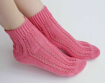 Hand knit pink cotton Socks women fishnet for her valentine love