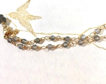 Labradorite & 14k Gold Filled chain bracelet
