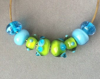Lampwork bead set - Lime green and turquoise