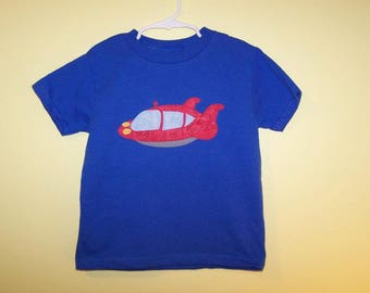 LiTTLe EiNSTeiNS Red ROCKET Ship Custom Boutique T SHIRT Applique Holiday Vacation