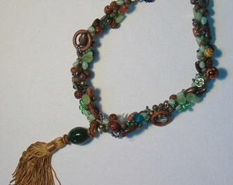 Woven Bead and Button Necklace with Gold Tassel