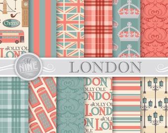 Vintage London Digital Paper / LONDON Pattern Prints / London Theme Printable Downloads, London Patterns British Theme DIY Scrapbook Paper