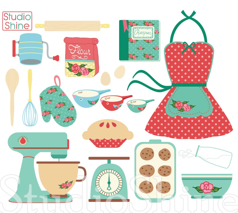 Retro Kitchen Illustration: Retro Baking Cooking Digital Clipart Set Clip Art PNG Vector