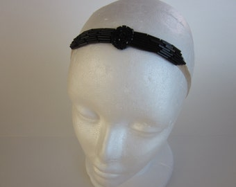 Charleston Headband, black Charleston dress headpiece, Art Deco headband, 1920s fascinator, flapper black beaded dress, Charleston