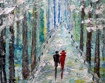 Winter Painting Original Oil on Canvas Romance Landscape Artwork on Large Canvas by Luiza Vizoli Ready to Ship