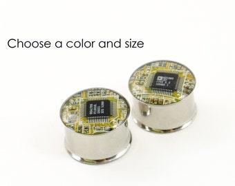 Circuit Board Plug Earrings, Steel Double Flare Tunnels Ear Plugs Earlets Gauges, Reversible Geeky Earrings, Software Engineer Gift, Nerdy