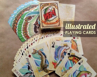 18 Decks of  Fish Playing Cards Fly Fishing Poker Deck Illustrated Trout