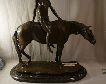 """C H Humphries Bronze Sculpture Signed & Dated """" The Warrior """""""