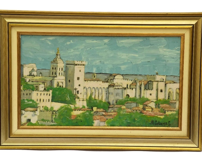 Avignon Pope's Palace Painting. Vintage French Palais Des Papes Framed Oil Painting by Solomas. Church Painting in Frame. Architecture Art.