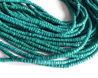 Coconut bead 130 aqua wood Beads - Coconut Rondelle Disk Beads 4-5mm
