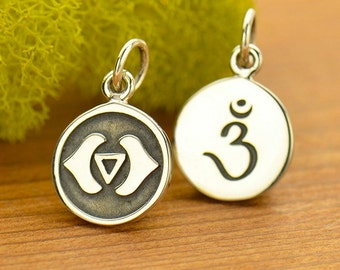 Sterling Silver Etched Third Eye Chakra Charm,Sanskrit Charm,Yoga Charm,Yoga Spirit Third Eye Chakra Jewelry,Chakra Channeling,7 Chakra