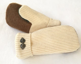 Sweater Mittens, Recycled Sweater Mittens, Fleece Lined Mittens, Wool Mittens, Lined Mittens, Women's Mittens