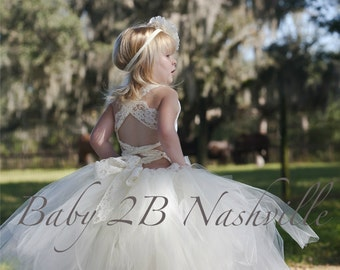 Ivory Dress Lace Dress Flower Girl Dress Wedding Party Dress Birthday Dress Toddler Tutu Dress Girls Tulle Dress Baby Dress Vintage Dress